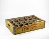 Vintage Crate Coca Cola Wood Mustard Yellow