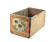 Vintage Wood Fruit Crate Wooden Box Sunny South Tomatoes Paper Label