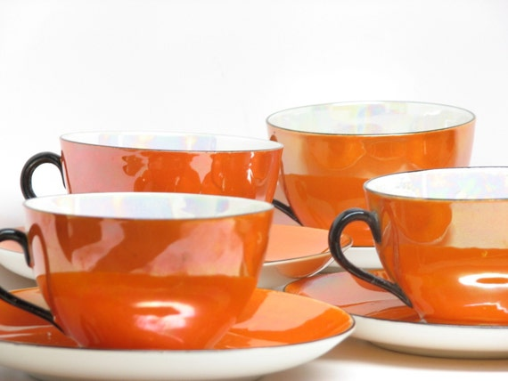 RESERVED for Run the Red Light - Vintage Orange Tea Cup Set of 6 - Orange, White, Black Iridescent - Retro