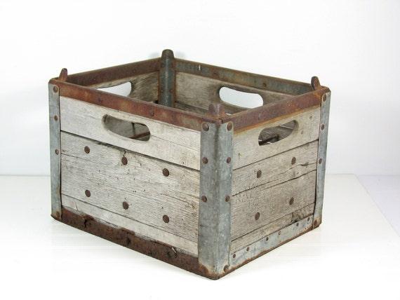 Vintage Wood Metal Milk Crate Rays Creamery Logansport In