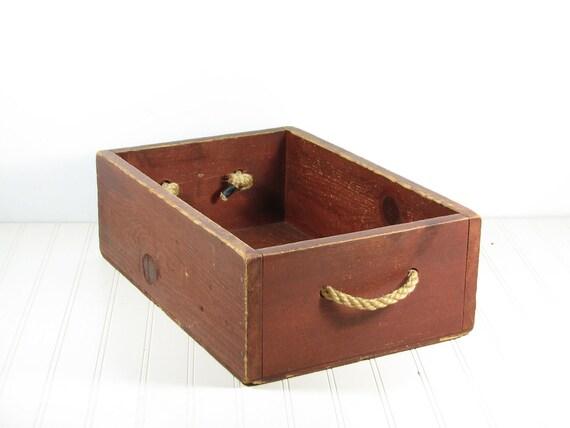 Wood Boxes With Rope Handles ~ Vintage wood box storage rope handles