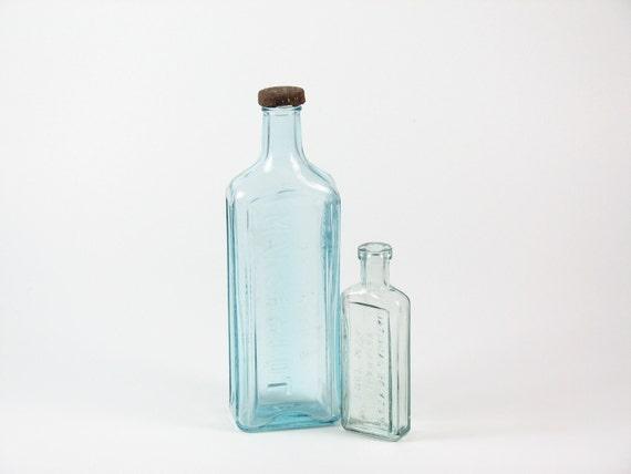 Antique Blue Medicine Bottle Apothecary Set