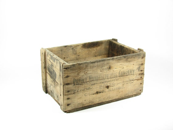 Vintage Wood Crate Wooden Box Pheoll Manufacturing Co Chicago IL