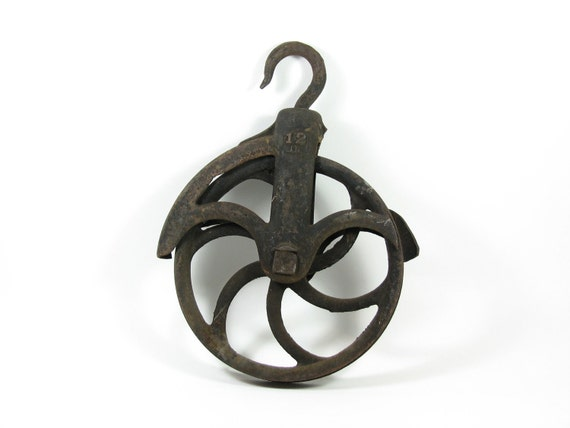 Vintage Pully Large Cast Iron Pulley Wheel Hanging Planter