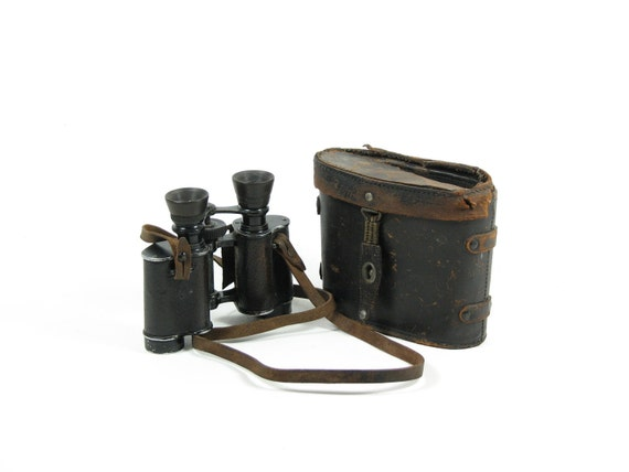 Vintage Binoculars Leather Case Paris Flammarion
