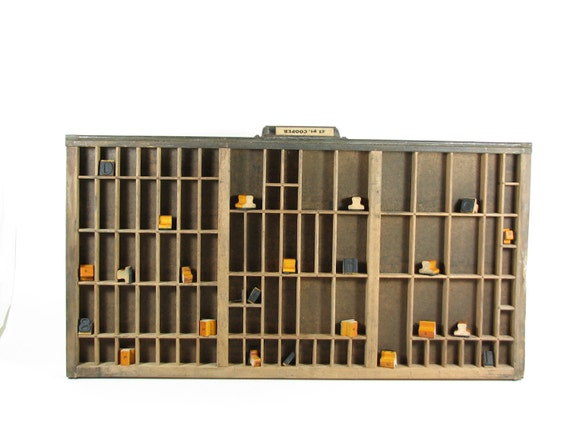 Vintage Wood Printer Drawer Tray Shadow Box Display Case Linotype Leadset