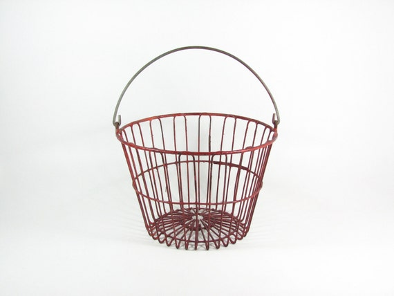 Vintage Egg Basket Metal Wire Tote with Handle Red