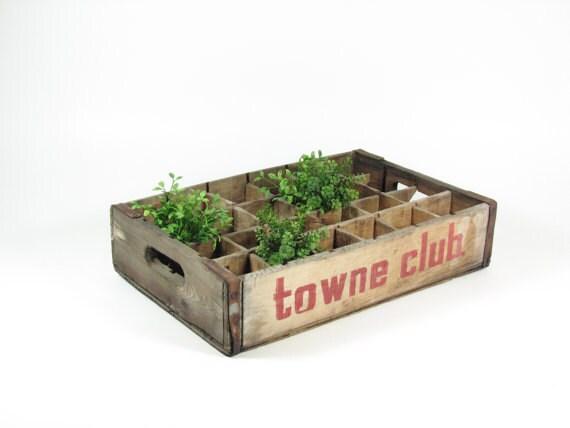 Vintage Wood Crate Wooden Box Towne Club Soda Pop Crate Shadow Box Display Shelf