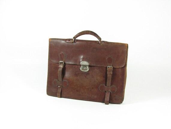 Vintage Brown Leather Briefcase Bag Tote Luggage Cowhide