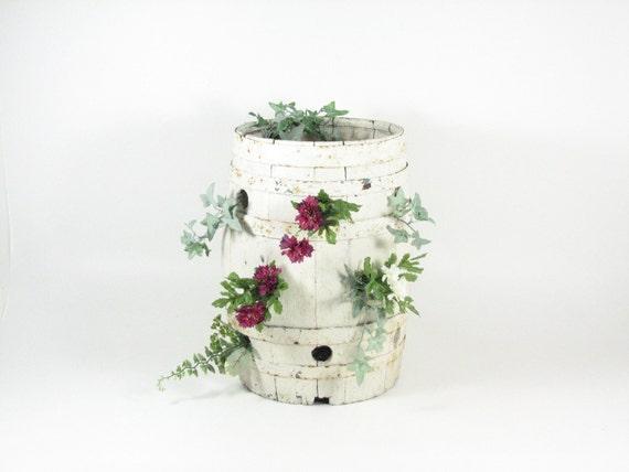 RESERVED Vintage Wood Barrel Wooden Nail Keg White Outdoor Planter