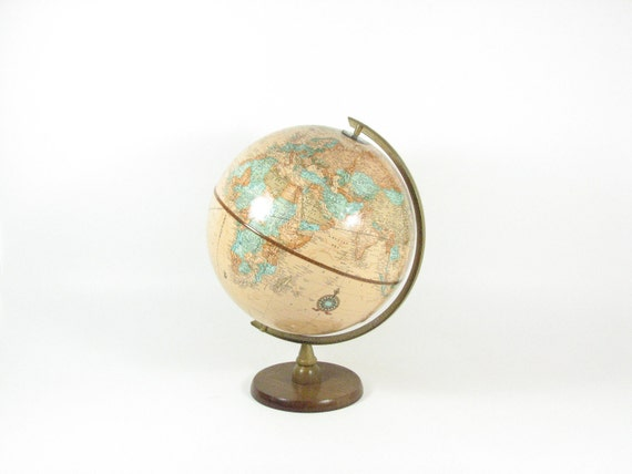 Vintage World Globe 1970s Cram's Imperial 12 inch Tan Earth Wood Stand