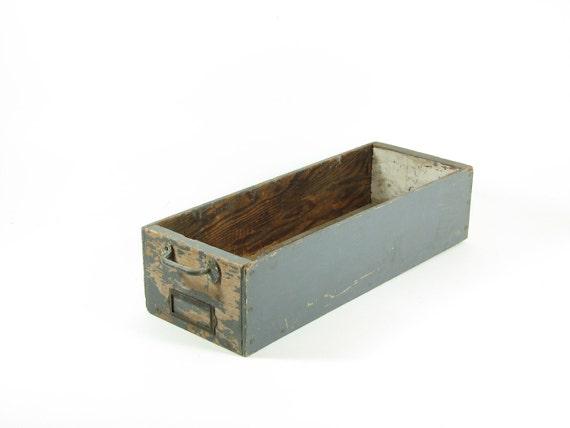 Vintage Wood File Drawer Green Long Box DVD CD Game Storage