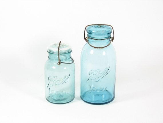 Vintage Ball Ideal Mason Jars Blue Canning Jars With Glass Lids Metal Hinge 1 Quart 2 Quart