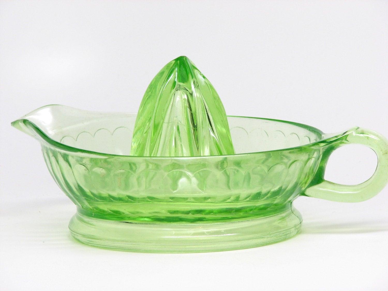 Vintage Green Glass Reamer Juicer For Orange By