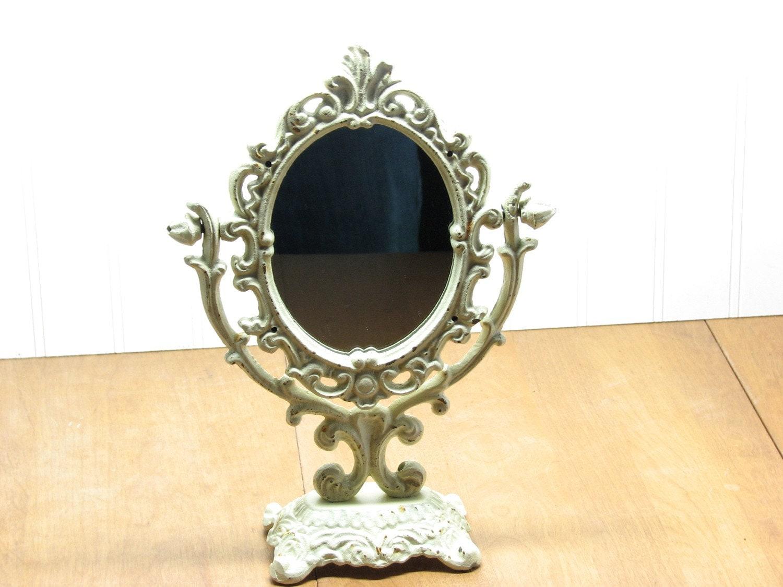 Vintage Cast Iron Swivel Mirror Cream Ivory Desk Or Vanity