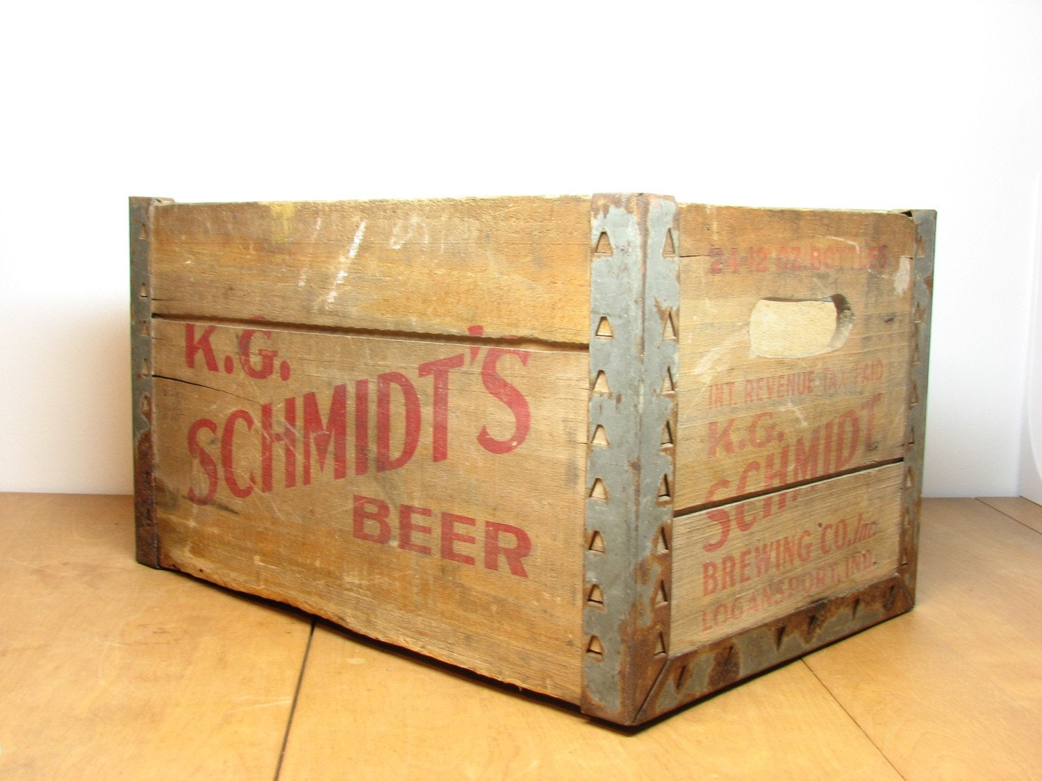Vintage Wood Beer Crate Box K G Schmidt S By Bridgewoodplace