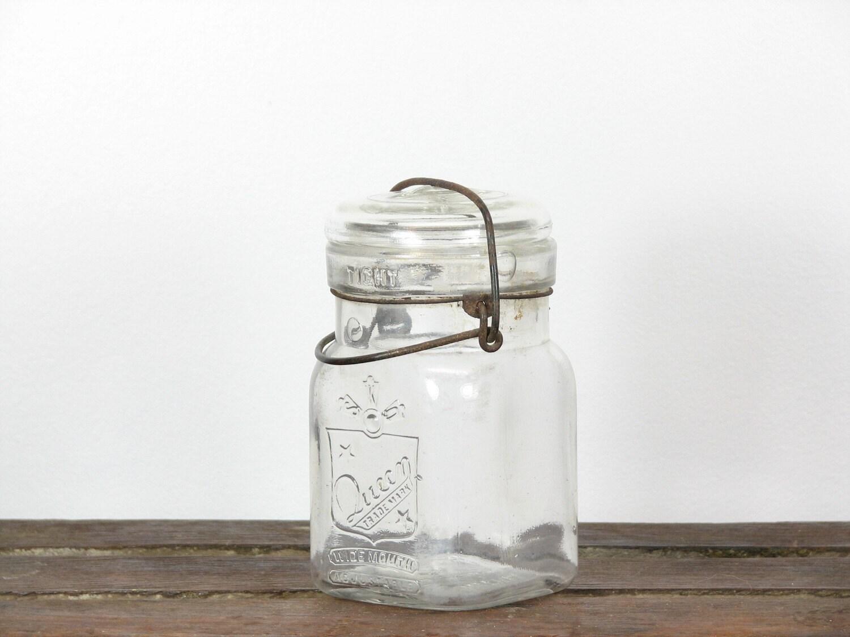 Vintage Wide Mouth Mason Jar Metal Hinged Lid Glass Cap