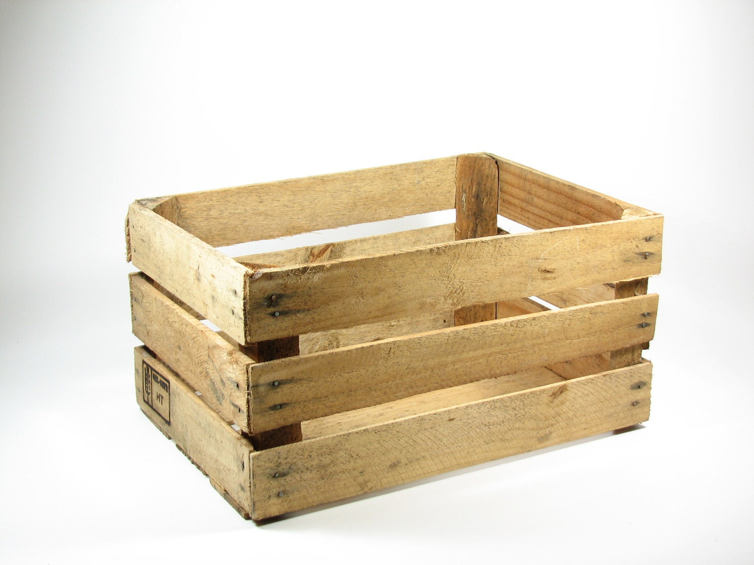 vintage wood open slat fruit crate