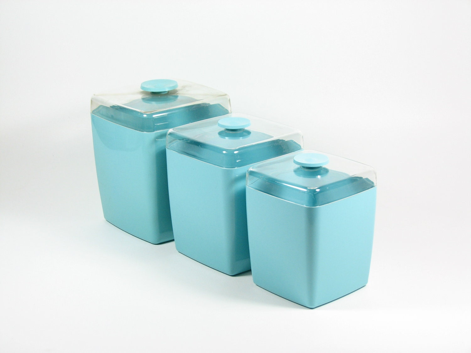 vintage canisters turquoise teal plastic set of 3