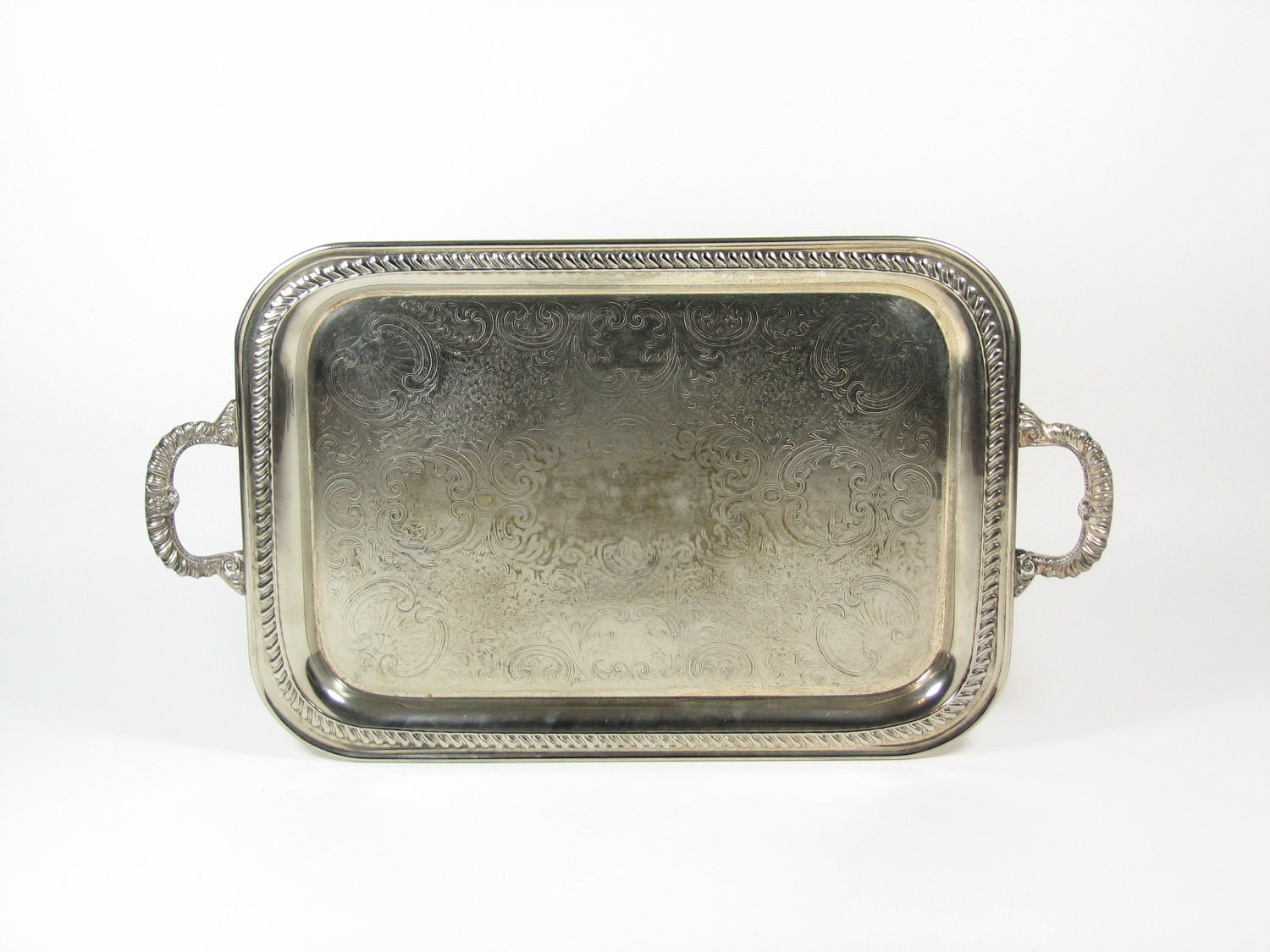 Vintage Silver Serving Tray Platter with Handles Silver Plate