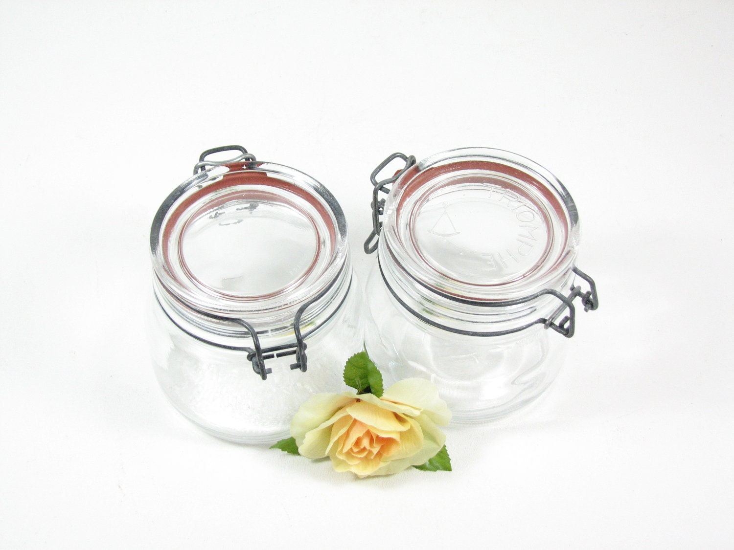 Vintage Small Mason Jars Hinged Lid Glass Lid Metal Clamp