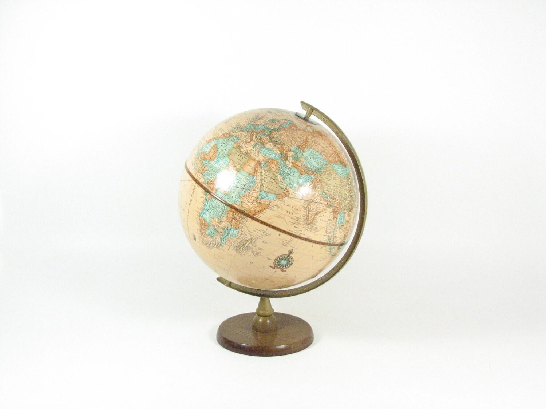 Vintage World Globe 1970s Cram S Imperial 12 Inch Tan