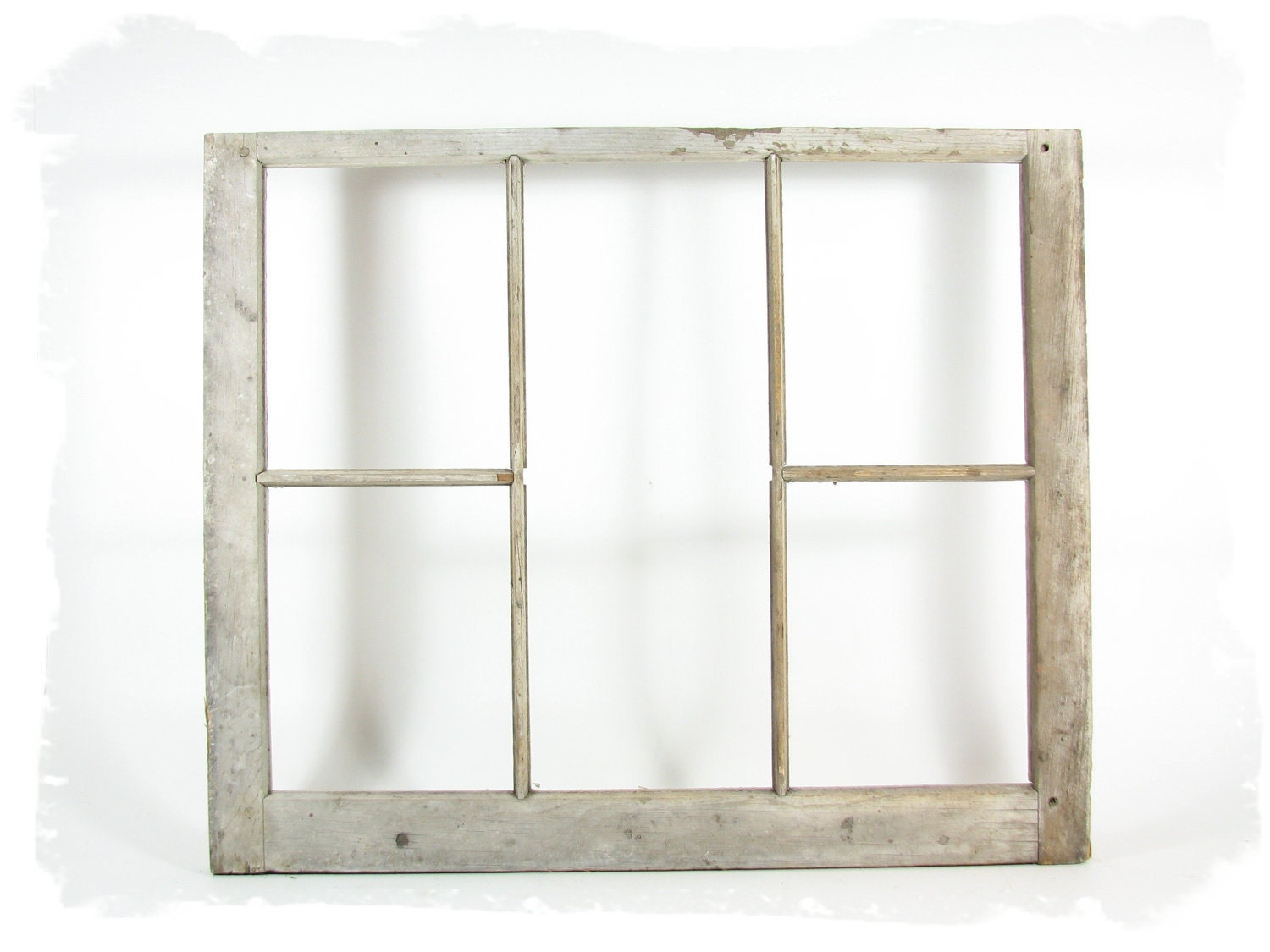 Vintage wood window frame 5 pane without glass by for Wooden windows