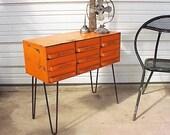 Vintage Industrial Orange Upcycled Hairpin Legs Table Storage Box