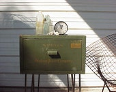 Vintage Green Industrial Storage Box Metal Upcycled Table Hairpin Legs