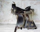 Vintage Black Leather Studded Decorative Saddle