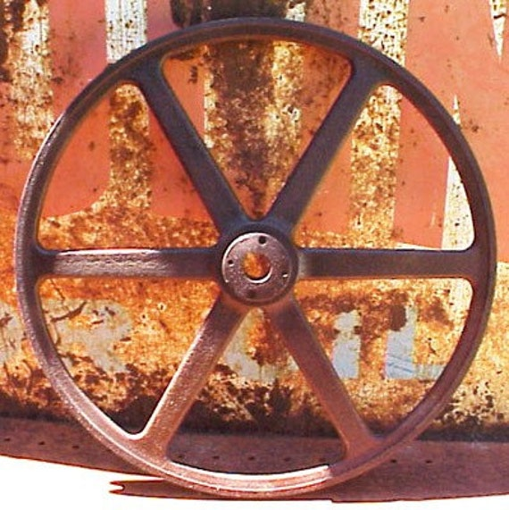 Cast Iron Wheels And Gears : Large vintage cast iron pulley wheel gear decorative art