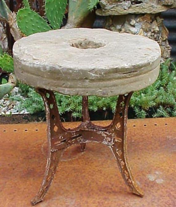 Old Round Sharpening Stone Whetstone Grinding Wheel Table