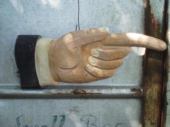 reserved for elisa  this way large figural hand carved wood hand sign