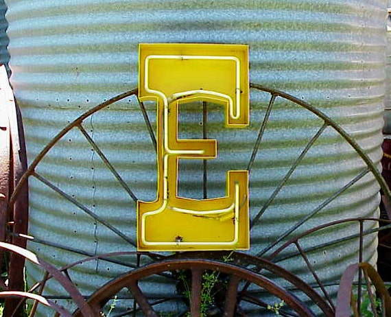 old sign letters vintage yellow metal salvaged neon sign letter e 23844 | il 570xN.241440703