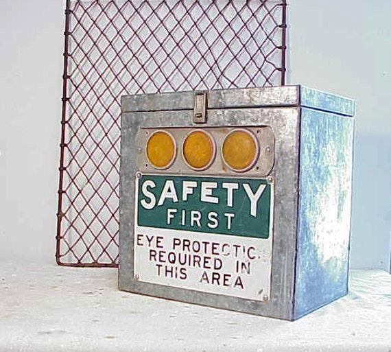 Vintage Upcycled Galvanized Metal Industrial Lock Box
