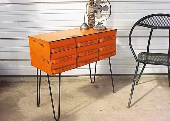 Vintage Industrial Orange Upcycled Hairpin Legs Table Storage Box