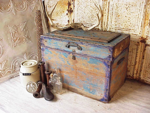 Vintage Gypsy Blue Studded Folk Art Box of Wood