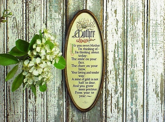 Vintage Mother Day's Oval Wall Plague