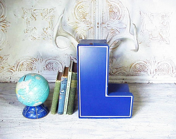Vintage Salvaged Sign Chunky Blue Letter L