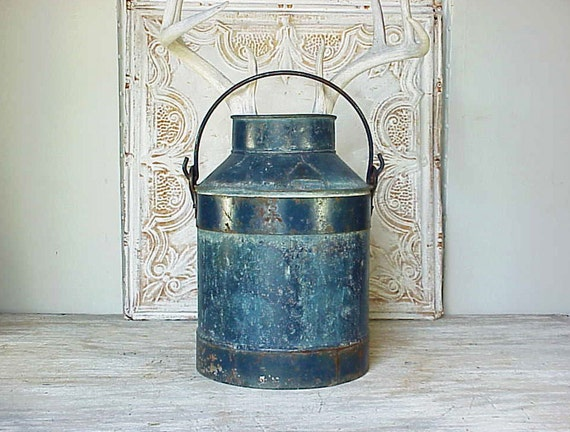 Vintage Rustic Blue Metal Milk Can Jug