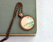 Peach and mint floral necklace bohemian jewelry from vintage sheet music abstract  illustration leaves