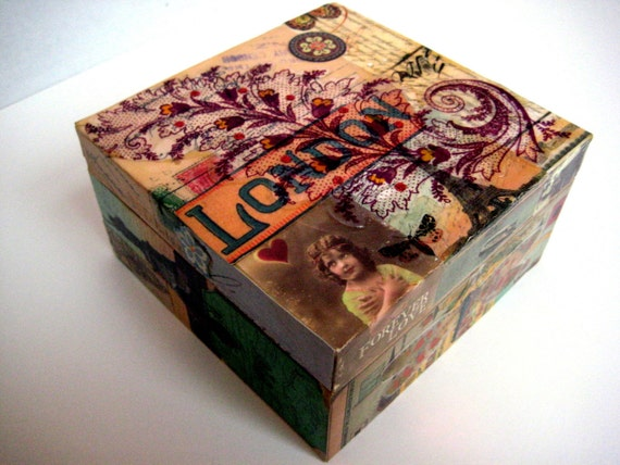 Reserved for Patti -Keepsake Scrap Box Decoupage