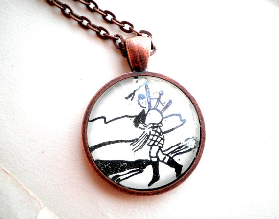 Bagpipe player necklace.  Copper pendant with real vintage sheet music illustration under glass dome.