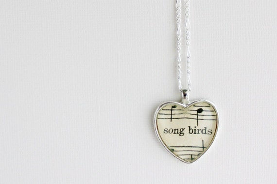 Silver pendant with real vintage sheet music under glass dome. Gift for wife, girlfriend, daughter, friend