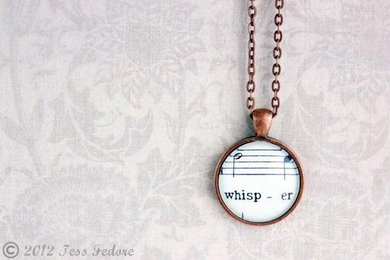 On Sale - WAS 28.00 Sheet music necklace.  Copper pendant with real vintage sheet music under glass dome.  Whisper