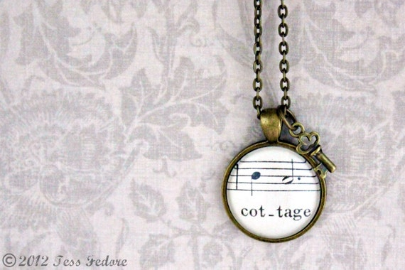 Vintage sheet music necklace with skeleton key charm.  Cottage