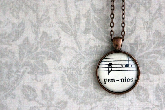 Sheet music necklace.  Copper pendant with real vintage sheet music under glass dome.  Pennies