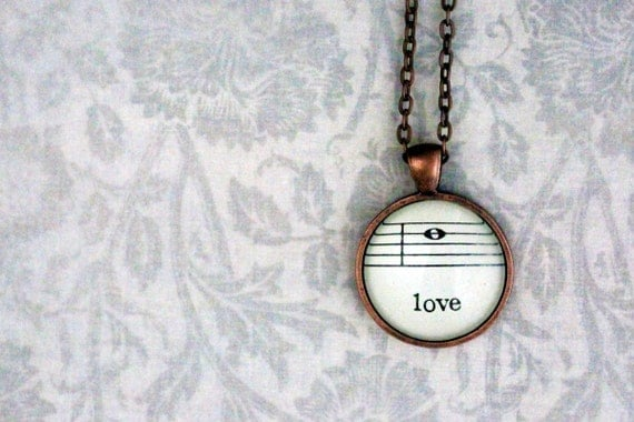 Necklace sheet music jewelry.  Copper pendant with real vintage sheet music under glass dome.  Love