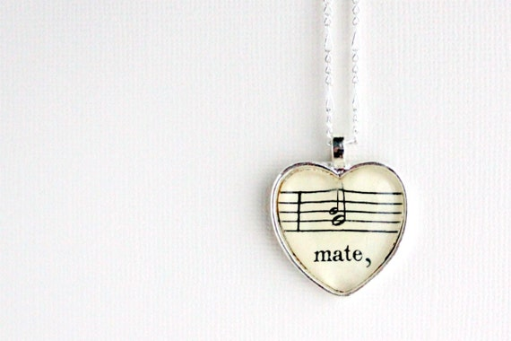 Heart  necklace.  Silver pendant with real vintage sheet music under glass. Gift for wife, girlfriend, anniversary, wedding