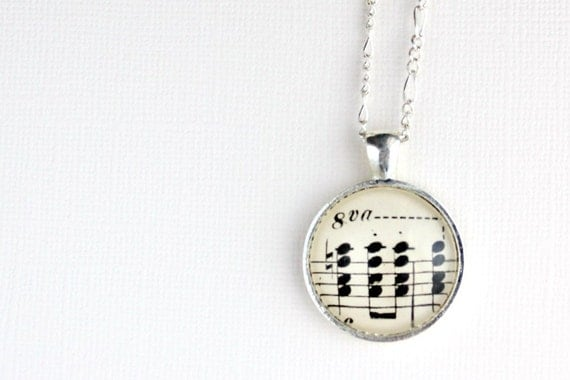 Sheet music necklace jewelry for musician and music lover black and white musical notes glass pendant on silver figaro chain